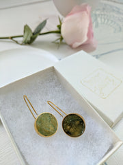 Brass and Resin Circle Earrings, Amazonite Color