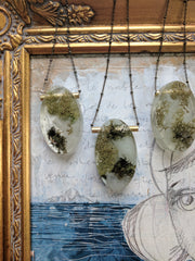 Oval Moss and Resin Necklace