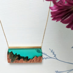 Wood and Resin Forest Green Landscape with Gold Plated Chain