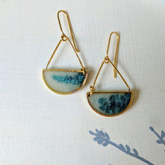 Brass and Resin Half-Circle Earrings with Triangle, Blue Lichen Color