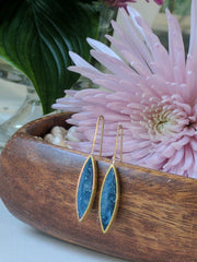 Marquis-Shaped Brass and Blue Resin Earrings