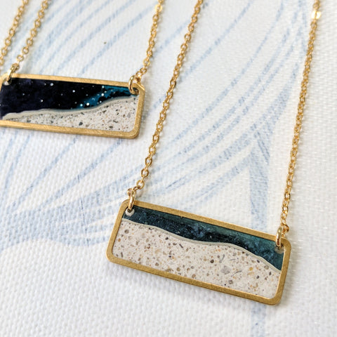 Mini Moonscape with Midnight Blue Resin and Brass Necklace