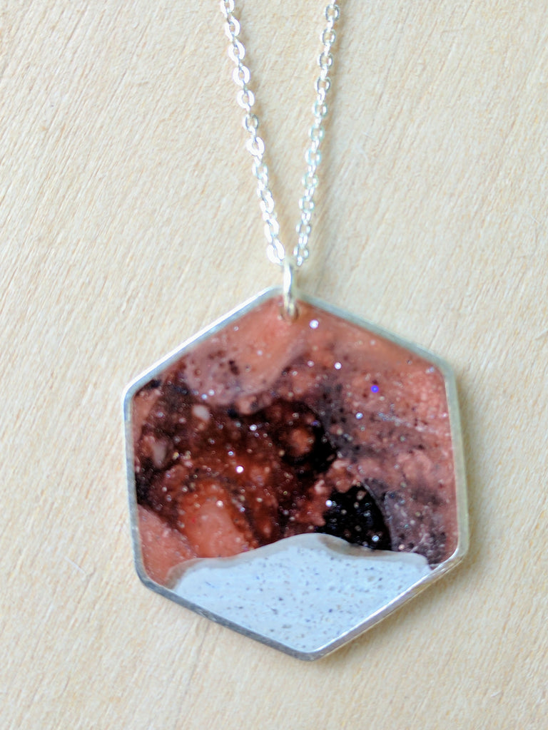 Hexagon Moonscape Pendant, Concrete and Resin. Silver Plated