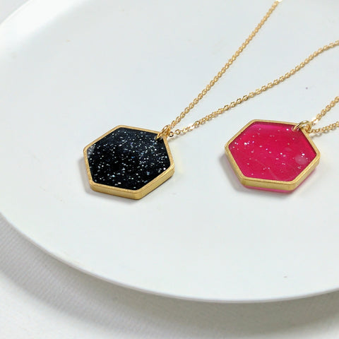 Resin and Brass Hexagon Necklace