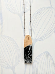 Black and White Wood and Resin Necklace