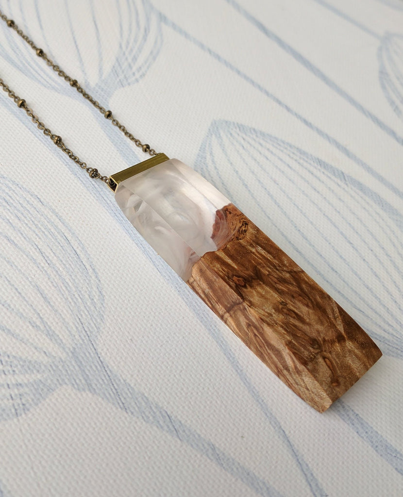 Cloudy Sky Wood and Resin Pendant
