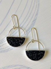 Black Resin and Silver Earrings