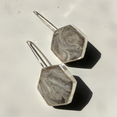 Slate Gray Silver and Resin Earrings