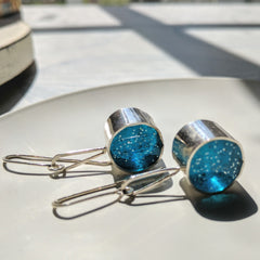 Silver Barrel Midnight Sky Resin Earrings