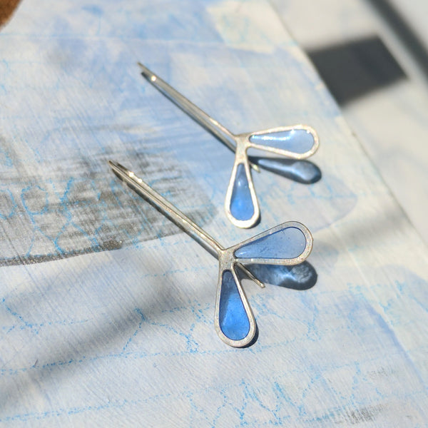 Miniature Blue Helicopter Seeds Earrings