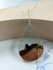 Wood and Blue Resin Teardrop Necklace