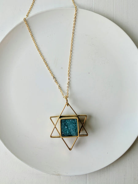 Star Of David Brass and Resin Necklace