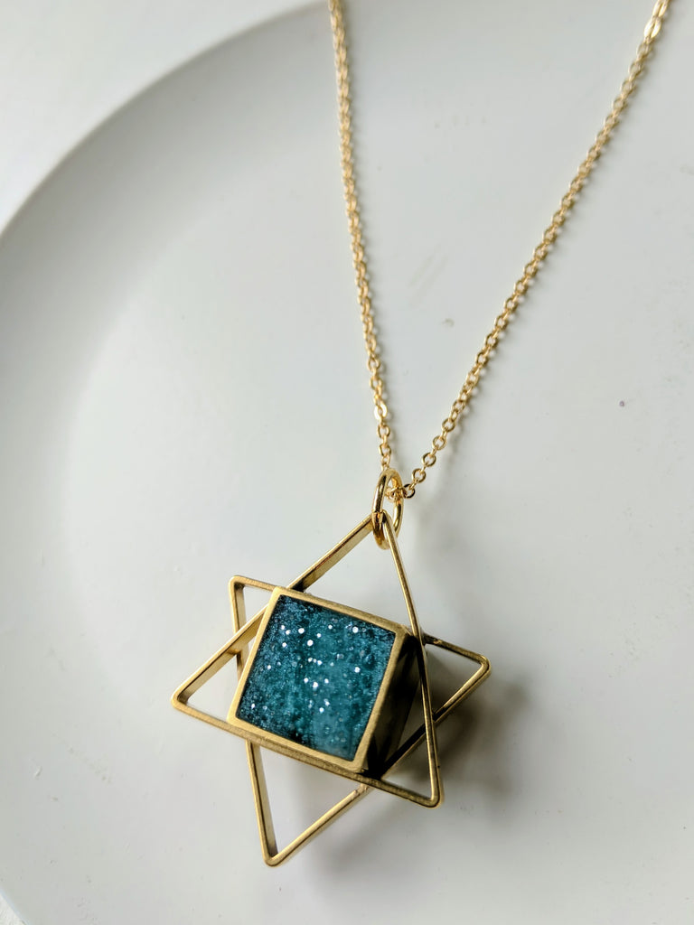 Star Of David Brass and Turquoise Resin Necklace