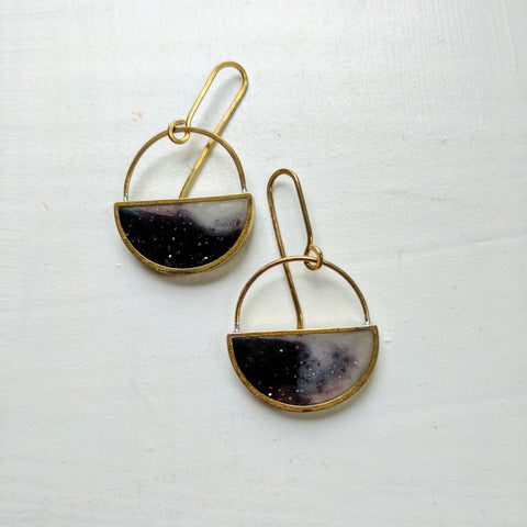 Galaxy Half Moon Dangle Earrings