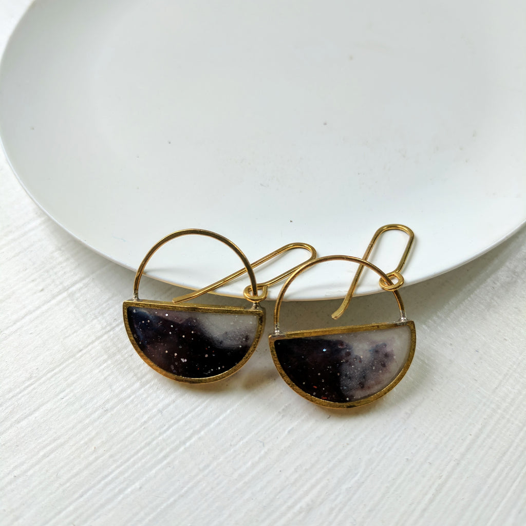 Galaxy Half Moon Dangle Earrings Muro Jewelry # Terrarium Dangle