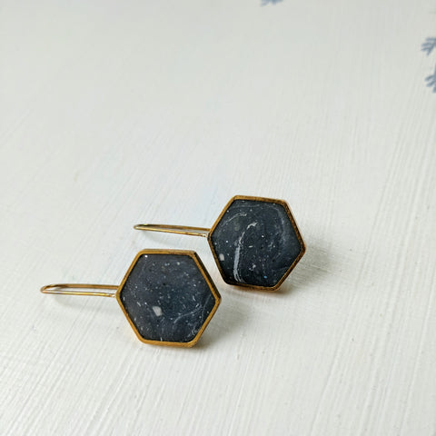 Marble Resin and Brass Hexagon Earrings