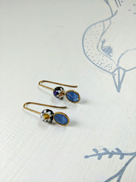 Miniature Bead and Blue Resin Earrings