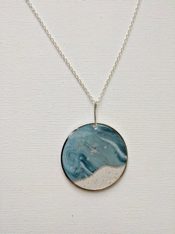 Swirling Blue and Concrete Snowscape Circle Pendant