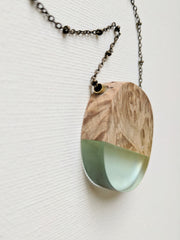 Circular Light Blue Resin and Wood Necklace
