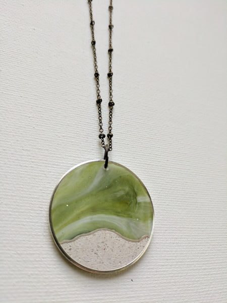 Green Resin and Concrete Snowscape Circle Pendant