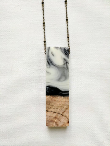 Black and White Swirled Resin and Wood Necklace