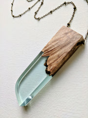 Light Blue Resin and Wood Necklace with Rounded Edge