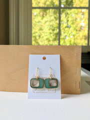 Retro Turquoise Brass and Resin Earrings
