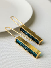 Rectangular Midnight Blue Resin and Brass Earrings