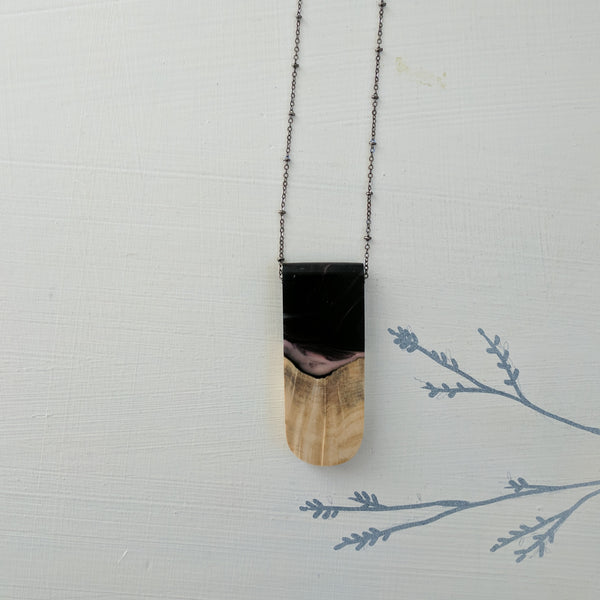 Purple and Black Resin and Wood and Necklace