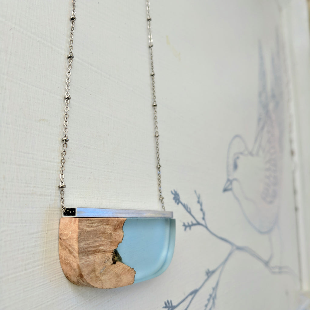 Wood and Blue Resin Necklace with Silver Bar