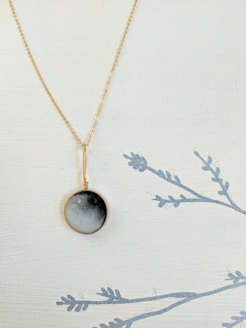 Blended Black and White Resin and Brass Necklace