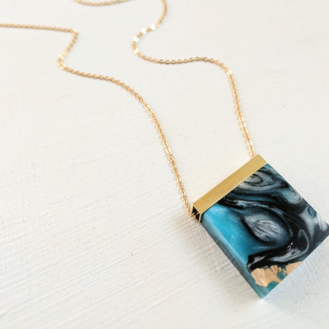 Wood and Black, Blue, and White Resin Necklace with Gold Plated Chian