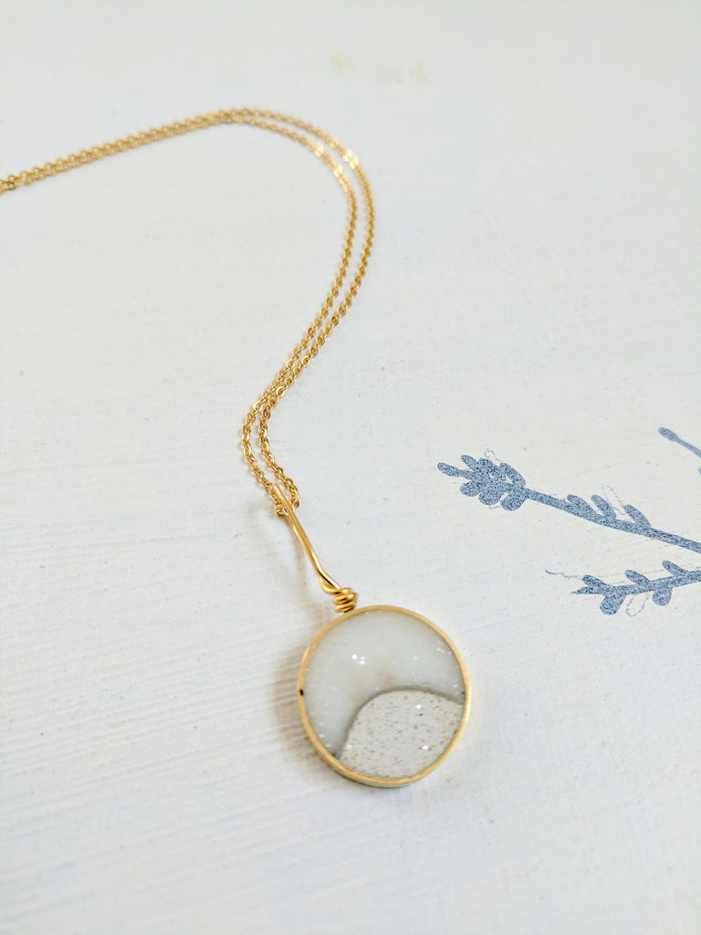 Brass and White Resin Necklace with Concrete