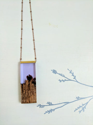 Wood and Purple Resin Necklace with Rounded Edge