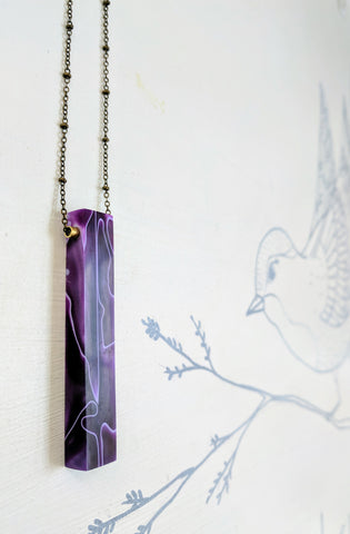 Deep Purple Resin and Wood Necklace with Antique Brass Chain