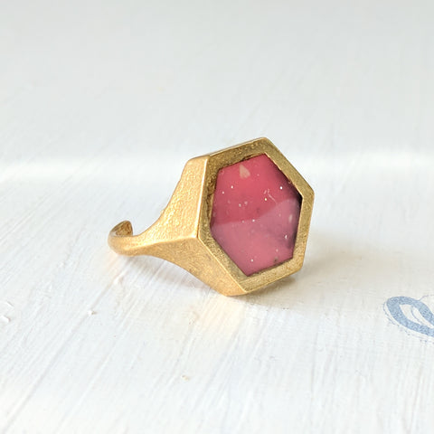 Hexagon Brass Ring with Pink Resin