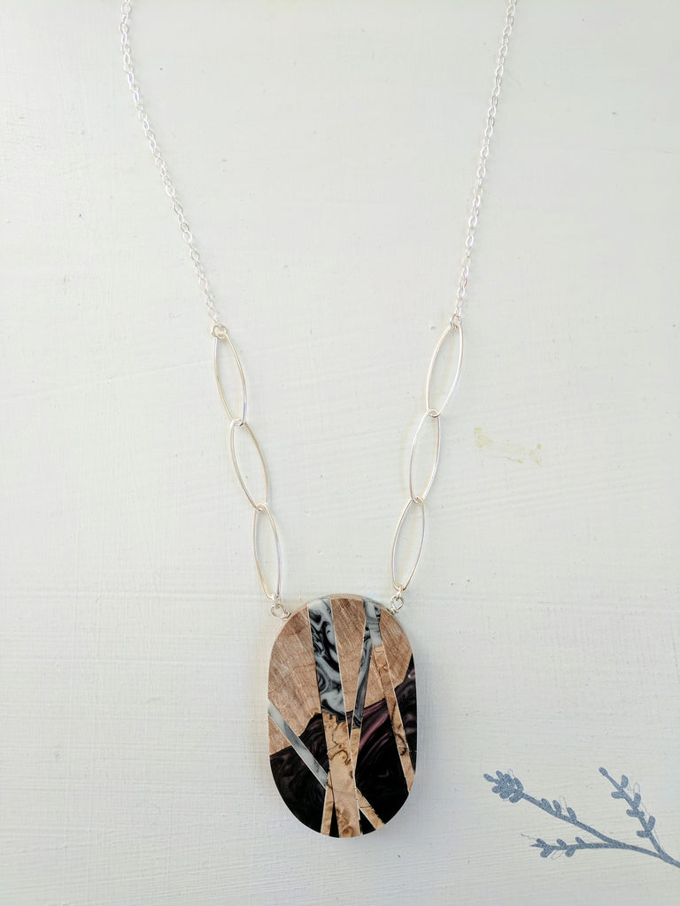White and Black Resin and Wood Necklace, Silver Filled Chain with Silver Links