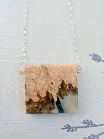 Clear and Blue Resin and Wood Necklace, Silver Filled Chain