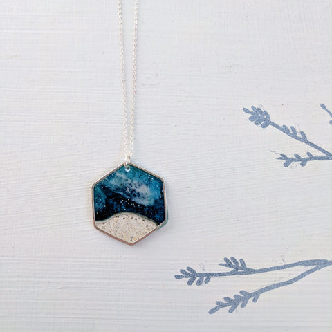 Silver Plated Moonscape Pendant with Concrete and Blue Resin