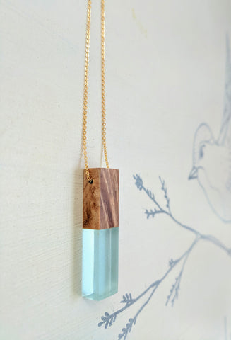Mini Wood and Blue Resin Necklace with Gold Plated Chain