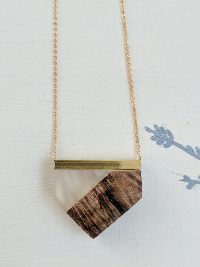 Geometric Wood and Cloud Resin Necklace with Gold Plated Chain
