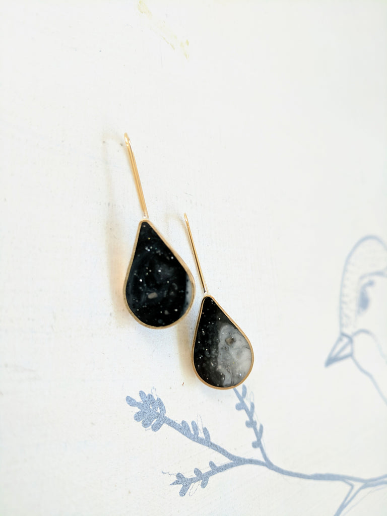 Black and White Swirled Resin and Brass Teardrop Earrings