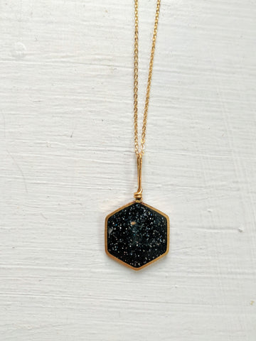 Black Resin and Brass Hexagon Necklace