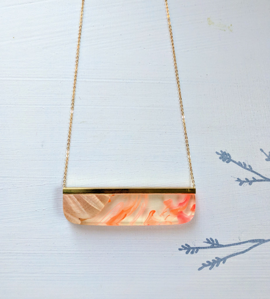 Clear and Orange Resin and Wood Necklace with Gold Plated Chain