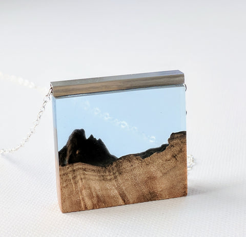 Wood And Blue Resin Mountain Landscape with Silver Bar and Chain