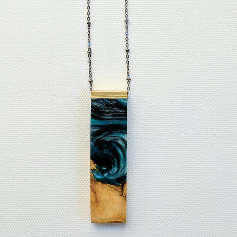 Wood and Blue, Black, and White Resin Necklace