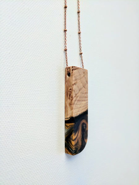 Wood with Orange and Black Resin Necklace