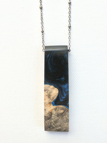 Wood with Black and Dark Blue Resin Necklace