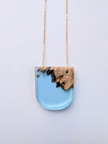 Wood and Blue Resin Necklace with Gold Plated Chain