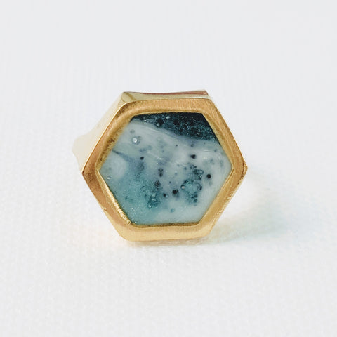 Light and Dark Blue Resin and Brass Ring